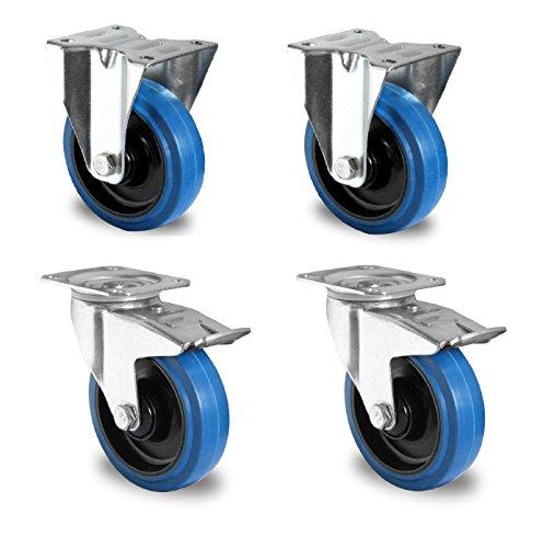 1 Satz Blue Wheels Lenkrollen 200mm 400kg/Rolle NEU Bock/FS