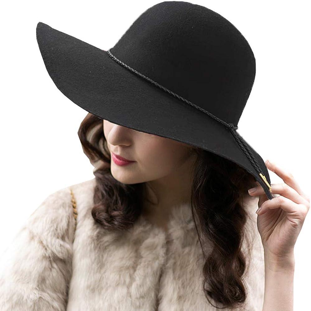 ASSQI Women's Wool Felt Floppy Hat Fedora Wide Brim Cloche Bowler Hat Foldable