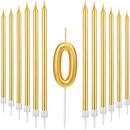 Conjunto de 21 Velas de Tarta de Feliz Cumpleaños Incluye Vela de Número Metálicas, 20 Velas de Cumpleaños Largas Doradas para Boda Cumpleaños Aniversario (Número 0)