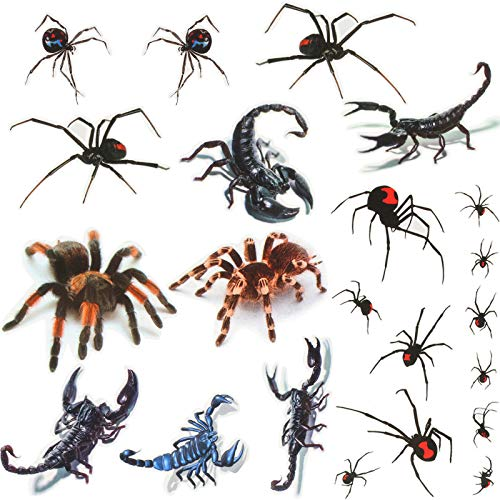 110 Pieces Spider Tattoo Stickers Scorpion Halloween Temporary Tattoos for Halloween Costume Trick or Treat Goody Bag, 25 Sheets