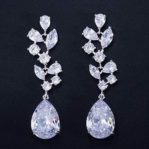 Elegantes pendientes colgantes largos de cristal de circonita cúbica azul oscuro para...