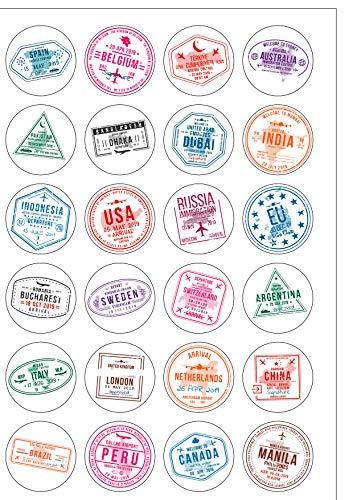 24 vorgeschnittene Reisepässe-Stempel, essbares Oblatenpapier, runde Kuchendekorationen