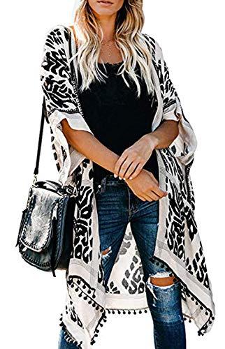 Kimono Mujer Largo Verano Playa, Vintage Grande Encubrir Cárdigan Chaqueta sin Mangas, Casual Batas Women Beach Bikini Cover Up, Body Wrap, Un Tamaño, Boho Negro Estampado