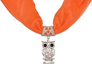 Neon Orange Rhinestone Owl Pendant Scarf Jewelry