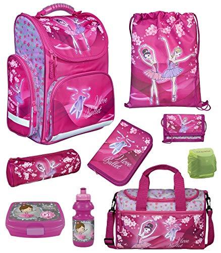 Familando Ballerina Mädchen Schulranzen-Set 9 TLG. Scooli Export CLOU Schultasche mit Brotzeit-Dose, Trink-Flasche, Sporttasche und Regenschutz Ballett Princess