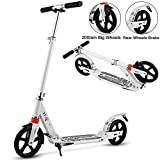 Aceshin Scooter for Adults/Teens/Kids, 200mm Big Wheels Scooter Easy Folding Lightweight Height Adjustable Rear Fender Brake Scooter Support 220lbs (White)
