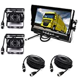 Reversing Camera Kit,4 Pin 2x Waterproof 18LEDs Night Vision Reverse Rear View Camera with 10M Aviation Cable +12-24V 7' TFT LCD Car Monitor for Large Truck/Bus/RV/Trailer/Tractor/camper