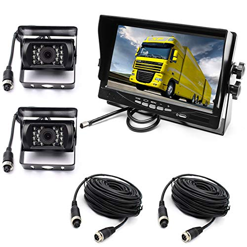 pumpkin1: Car Reverse Camera System, 4Pin 12-24V 2x Waterproof 18-LED Night Vision Reverse Camera with 10M Aerial Cable + 7