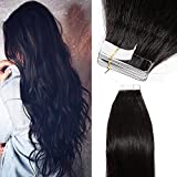 40 Pcs Extension Adhesive Cheveux Naturel Bande Adhesive Extension - Remy Human Hair Tape In Hair Extensions (#1B NOIR NATUREL, 50CM - 100g)