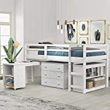 Low Study Loft Bed, Twin Loft Bed with Cabinet and Rolling Portable Desk. White,Low