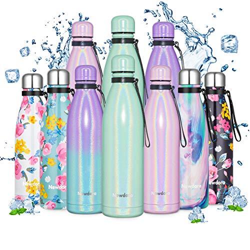 Newdora Botella de Agua Deportiva de Acero Inoxidable, 500ml 750ml, Botella Termica con Doble Aislamiento para 12 Horas de Bebida Caliente y 24 Horas de Bebida Fría, para Oficina Viaje Cafe