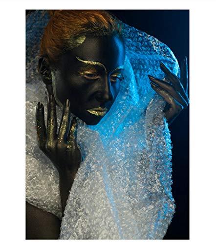 PCWDEDIAN Fluorescencia Oro Arte Belleza Dama Mujeres Chica Mujer Lienzo Cartel Impresión Hotel Baño Inicio Arte De La Pared Decoración Up311 40x50Cm