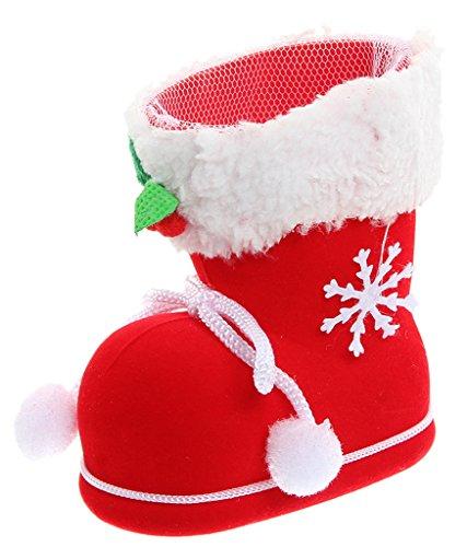 Bigood Botte de Noël Peluche Plastique Sac à Bonbons Décoration Hauteur 14.1cm