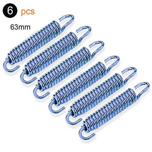 Qiilu Auspufffeder 63mm6 stücke Spiralfeder aus rostfreiem Stahl Blau für die Modifikation von Motorradabgasen