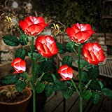 Solar Garden Lights, Outdoor Solar Stake Lights, LEMBO DIRECT Upgraded 2 Pack Outdoor Waterproof LED Solar Powered Flower Stake Landscape Decor Lights 6 Roses for Garden, Patio, Yard, Lawn (Red)