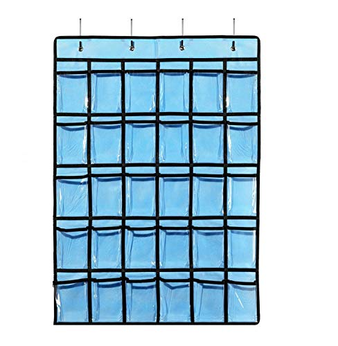 SURCHAR ウォール ポケット カレンダーポケット 布製 防水 透明 PVC 小物収納 ウォールラック 壁掛け 収納 ポケット 吊り下げ ポケット 壁掛け収納式フック付き 30 ポケット ブルー