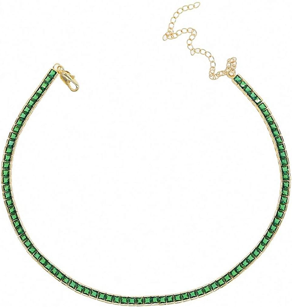 Summer Baguette Cubic Zirconia Tennis Choker f CZ Necklace Popularity 5 ☆ very popular Chain