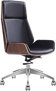 Silla giratoria ajustable Silla de ruedas ejecutiva con respaldo alto con ruedas, silla de escritorio Mid Century, oficina en el hogar, silla moderna para computadora, madera doblada y cuero de PU