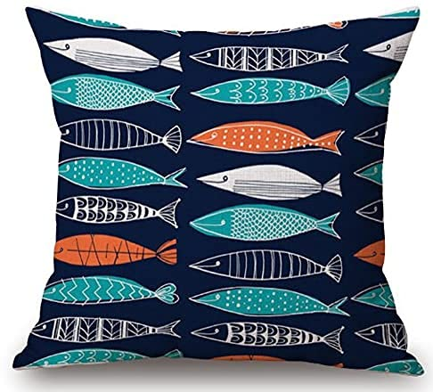 LuckyTagy Tropical Fish Ornamental Fish Linen Square Throw Pillow Case Decorative Cushion Cover Pillowcase Sofa 18'x 18' (2)