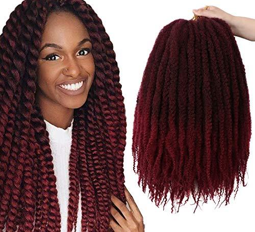 YMHPRIDE 4 Packungen Ombre Marley Flechten Haar Afro Kinky Extensions Twist Crochet Braids Synthetisches Haar 20 Zoll (Schwarz bis Weinrot)