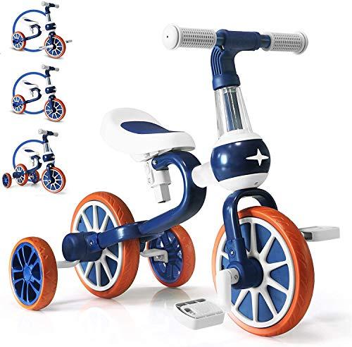 三輪車 子ども用 4 in 1 ペダルなし自転車 組み立てバランスバイク 2-4歳 ランニングバイク 子供用 持ち運びやすい 幼児に向け プレゼント (ブルー)