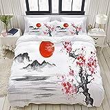 WINCAN Japón Pintura Japonesa Tradicional Sumie Art Fundas Edredon 140x200cm con 2 Fundas De Almohada 50x80cm para La Decoración del Hotel En El Hogar Dormitorio