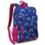LONECONE Kids School Backpack for Boys & Girls - Sized for Kindergarten, Preschool - Hearts & Rainbows