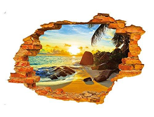 fablcrew autocollants de mur de motif de soleil de plage