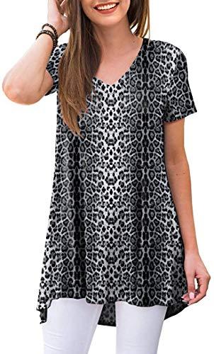 POPYOUNG Women's Summer Casual T-Shirt V-Neck Short Sleeve Tunic Tops for Leggings Loose Blouse Shirt 3XL, Snow Leopard