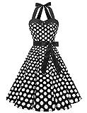 Dressystar, abito vintage a pois, stile rockabilly, anni '50, anni '60, con allacciatura al collo a pois bianchi e neri. L
