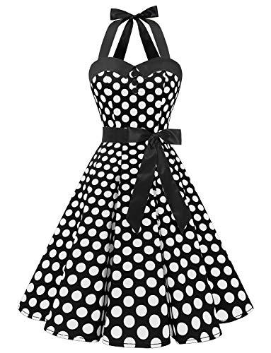 Dressystar 1957 Vintage Tupfen Retro Cocktail Abschlussball Kleider 50er 60er Rockabilly Neckholder Schwarz Weiß Dot M