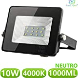 Foco LED exterior Floodlight 10W GNETIC GLASS Proyector Negro Impermeable IP65 1000LM Color Luz Blanco Neutro 4000K Angulo 120º 85x115 mm 30000h Equivalente a 100W [Eficiencia energética A++] Pack x1