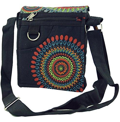 GURU SHOP Kleine Schultertasche, Hippie Tasche, Goa Tasche - Schwarz, Herren/Damen, Baumwolle, Size:One Size, 18x16x4 cm, Alternative Umhängetasche, Handtasche aus Stoff