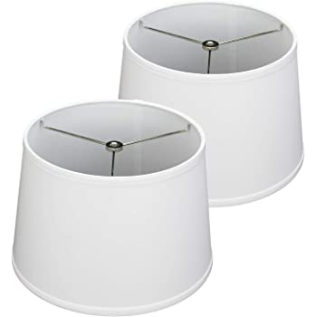 "FenchelShades.com Set of 2 Lampshades 10"" Top Diameter x 12"" Bottom Diameter x 8"" Slant Height with Washer (Spider) Attachment for Lamps with a Harp (Linen White)"