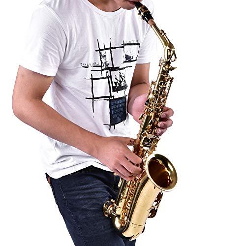 Wakects Alto Saxphone EB Contralto Saxphone Saxofón Sax de alta calidad con cepillo de limpieza funda guantes y paño de limpieza, Saxofón de latón para adultos y niños