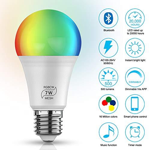 Smart - Bombilla LED (4,5 W, RGBWC, con Bluetooth, E27, E26, 5050 RGB, 2835, intensidad regulable, 16 millones de luces)