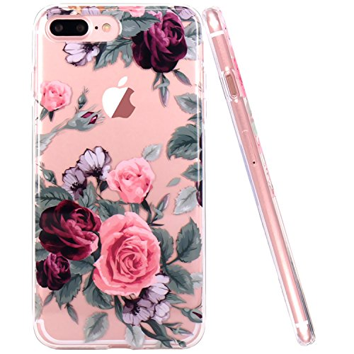 JIAXIUFEN iPhone 7 Plus Hülle, iPhone 8 Plus Hülle, TPU Silikon Schutz Handy Hülle Handytasche HandyHülle Etui Schale Schutzhülle Case Cover für Apple iPhone 7 Plus/iPhone 8 Plus - Pink Purple Rose