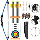 Aimdor Archery Bow and Arrow Set Youth Compound Bow and Arrow Practice Bow Kids Bow Birthday Gift Bow Left and Right Hand Bow Beginner Bow with 8 Arrows and Quiver for Outdoor Play Blue
