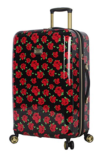 Betsey Johnson 26 Inch Checked Luggage Collection - Expandable Scratch Resistant (ABS + PC) Hardside Suitcase - Designer Lightweight Bag with 8-Rolling Spinner Wheels (Covered Roses)