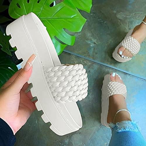 DZQQ Sandales pour Femmes Chaussures Plates d'été 2021 Femme décontracté compensé Diapositives Sandale Femme Plate-Forme Chaussures Dames Chaussures de Plage en Plein air
