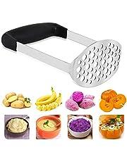 Máquina trituradora de patatas de acero inoxidable con mango ancho y ergonómico horizontal para puré de papas, verduras y frutas (12 × 7 × 17 cm)