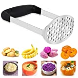 Stainless Steel Potato Masher with Wide and Ergonomic Horizontal Handle for Smooth Mashed Potatoes,Vegetables and Fruits (Black 12 × 7 × 17 cm)