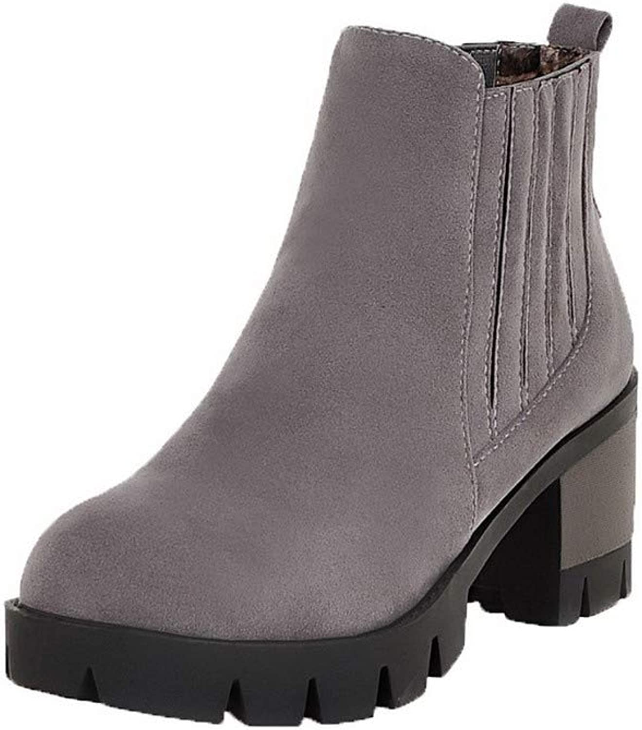 WeenFashion Women's Frosted Ankle-High Solid Pull-On Kitten-Heels Boots, AMGXX110886