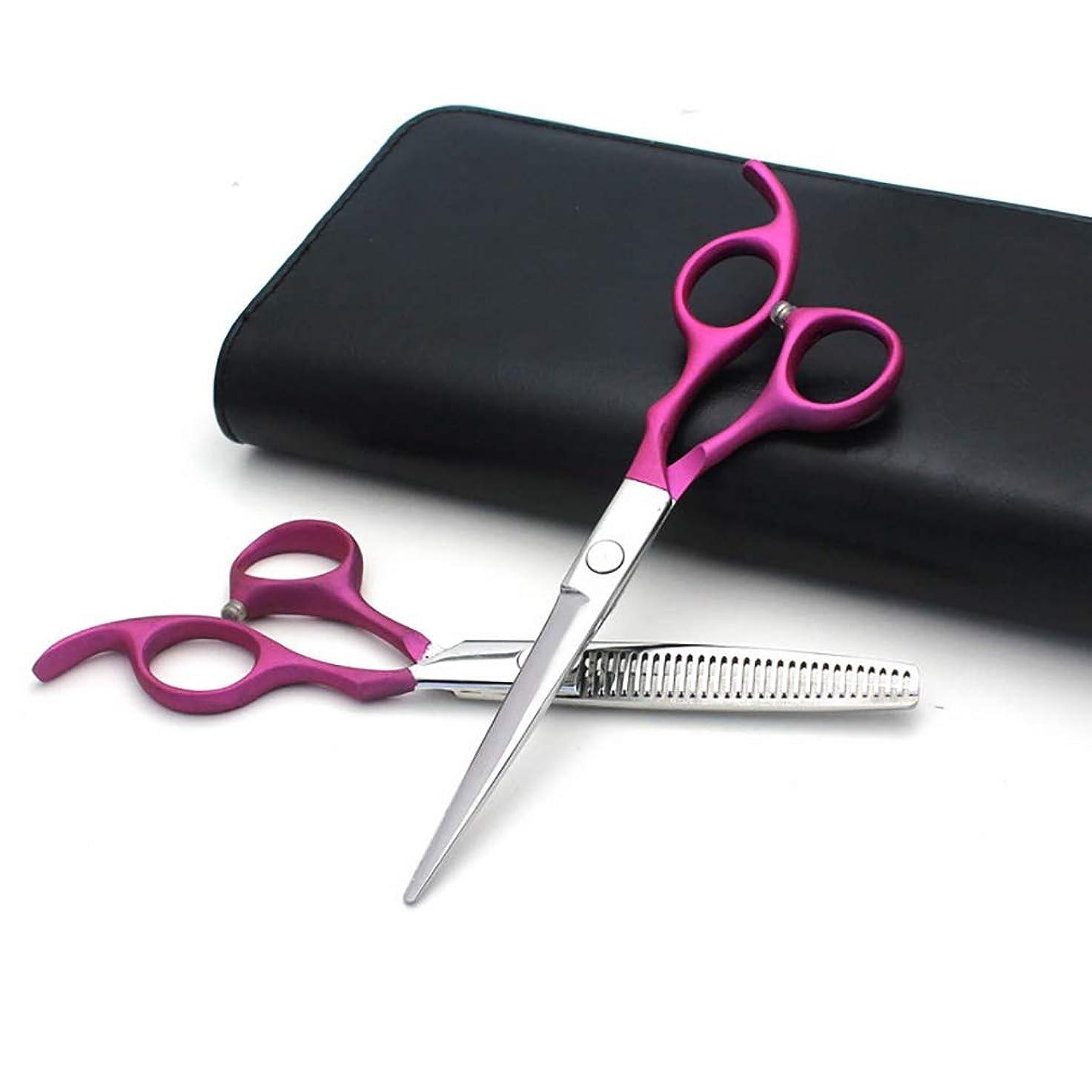 終わり純度ドアミラー美容院のはさみは6.0インチ、大広間、理髪師または家の使用のための専門の毛のはさみそして理髪の薄くなるはさみを、軽くそして鋭く設定します,Pink