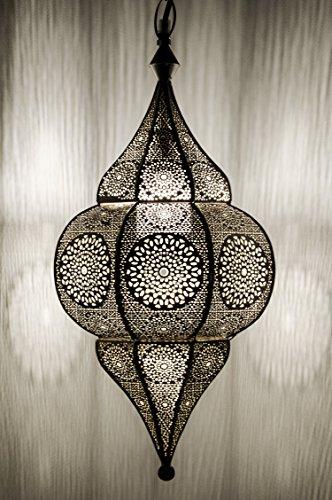 Orientalische Lampe Pendelleuchte Malha 50cm E14 Lampenfassung | Marokkanische Design Hängeleuchte Leuchte aus Marokko | Orient Lampen für Wohnzimmer Küche oder Hängend über den Esstisch (Silber)