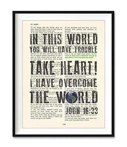 Take Heart I Have Overcome the World, John 16:33, Vintage Bible Verse Scripture Christian Art Print, Unframed, Wall Art Home Decor Poster, Inspirational Gift, 8x10 Inches