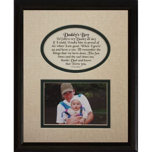 8x10 DADDYS BOY Picture Poetry Photo Gift Frame Cream Hunter Green Mat In