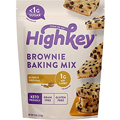 Highkey Keto Brownie Mix Blondie - Sugar Free Chocolate Brownies Low Carb Snacks & Gluten Free Baking Mix for Healthy Diabetic Foods & Snack for Ketogenic, Paleo, & Grain Free Diet Food or Desserts