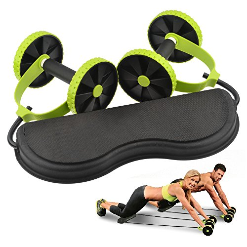 Ab Roller,Hmane Home Exercise Equipment Core Double Wheels Ab Roller Pull Rope Abdominal Waist Slimming Trainer