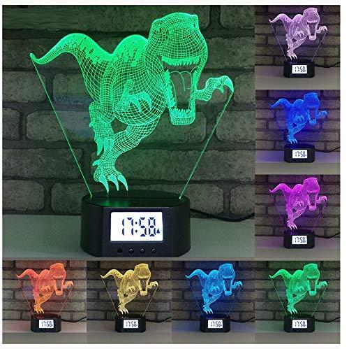 Optische Illusion 3d Lampe Night Lampe Wecker Basis Dinosaurier 7 Farben Ändern 3d Led Tischleuchte Für Schlaf-schlaflampe Home Decor Kunst Dekor Kinder Touch Button